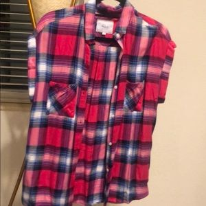 Rails Short Sleeve Pink Plaid Flannel Small NEW